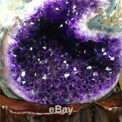 8.69LB Natural Amethyst geode quartz cluster crystal specimen healing +stand