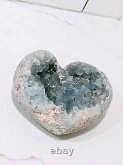 8.8LB Natural Celestite Geode Crystal Cluster Heart Mineral Specimens Healing