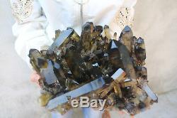 8950g Natural Beautiful Citrine Smoke Quartz Crystal Cluster Tibetan Specimen