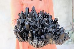 9100g Natural Beautiful Black Quartz Crystal Cluster Tibetan Specimen #043