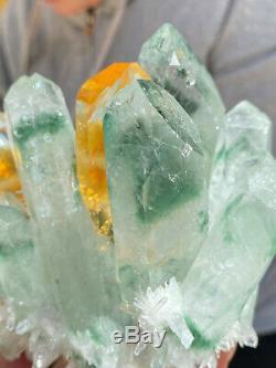 925g Large Clear Green Phantom Quartz Crystal Cluster Healing Mineral Specimen