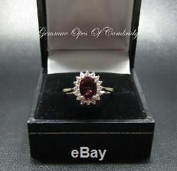 9K gold 9ct Gold Rubellite Tourmaline and Quartz Cluster Ring Size N 3.08g