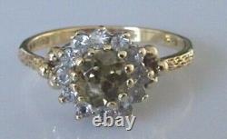 9ct Gold Ring 9ct Gold Smokey Quartz Cubic Zirconia Cluster Ring Size N 1/2