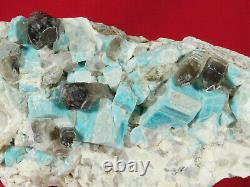 A Big! 100% Natural Amazonite Crystal Cluster with Smoky Quartz! Colorado 2151gr