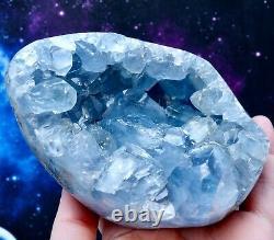 A Grade Large Polished Blue CELESTITE Geode Egg Crystal Cluster MADAGASCAR 1.2kg