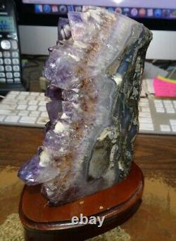 AMETHYST CRYSTAL CLUSTER CATHEDRAL GEODE FROM BRAZIL With CALCITE