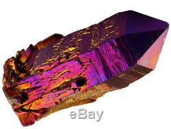 AURA QUARTZ CRYSTAL Point Titanium Cluster Geode Blue Gold Natural SUPER LARGE