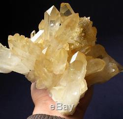 Aeolus! Rare Elestial Angel Golden Healer Lemurian Quartz ClusterAbundant Love