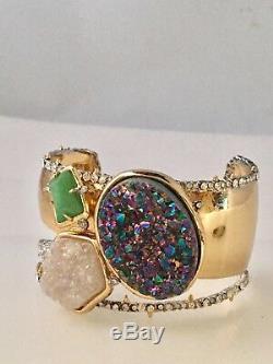 Alexis Bittar Angel Druzy Stone Cluster Cuff Bracelet $345 Crystals Thorns New