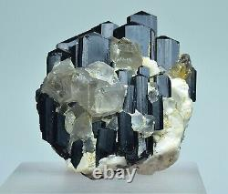 Amazing Black Tourmaline Crystal Bunch with Quartz Crystal On Feldspar Matrix 82 g