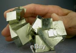 Amazing Sixteen 16-cube Golden Pyrite Crystal Cluster, Navajun, Spain, 3-d Video