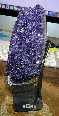 Amethyst Crystal Cathedral Geode Uruguay Cluster Steel Stand Stalactite Base