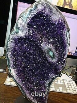 Amethyst Crystal Cluster Geode Uruguay Cathedral Stalactite Base Steel Stand