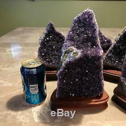 Amethyst Druze Crystal Cluster on Wood Base (Specimen)