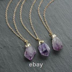 Amethyst Healing Crystal Cluster Necklace-Boho Vintage Gold Dipped Quartz Nugget