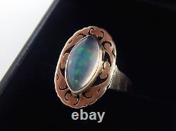 Antique 14k 2 Carat Crystal Opal Ring Size 6 3/4