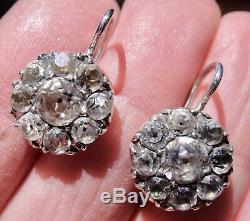 Antique Georgian Era Sterling Silver Black Dot Paste Cluster Dangle Earrings