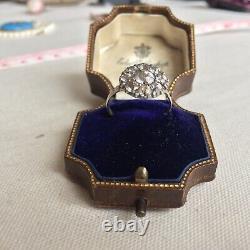 Antique Georgian black dot paste cluster silver ring c1800s UK L, US6 1/2
