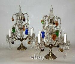 Antique PAIR LAMPS Girandoles CRYSTAL FRUIT Clusters PRISM FRANCE Baccarat Style