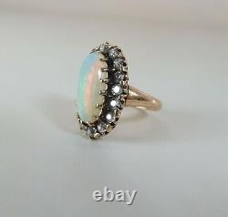 Antique Victorian 14k Rose Gold Crystal Opal & Old Mine Cut Diamond Halo Ring