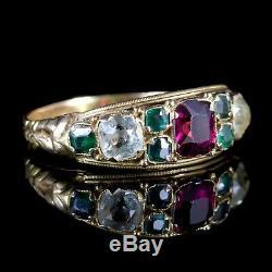Antique Victorian Garnet Quartz Cluster Ring 15ct Gold Circa 1900