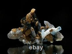 Aquamarine Beryl with Tourmaline & Quartz Crystal Cluster WOW 6 Minerals