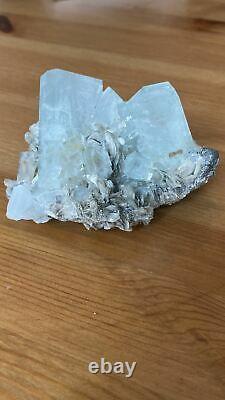 Aquamarine Cluster with Mica Crystal Specimen Pakistan Raw Stone Gem Terminated