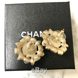 Authentic CHANEL Light Gold Crystal Pearl Cluster Stud Earrings Hallmark Stamp
