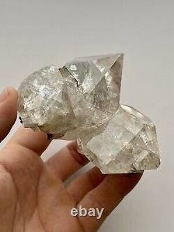 Authentic Large NY Herkimer Diamond Rainbow Quartz Crystal Cluster with Marcasite