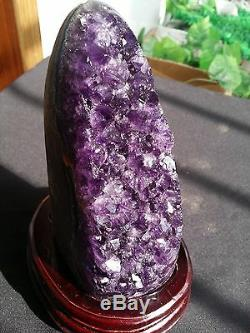 BEST! 1730g beautiful amethyst crystal cluster geode from uruguay +304g Stand