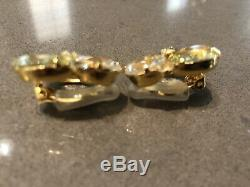 Baccarat Citrine 18k Gold Crystal Cluster Earrings Vintage Estate Sale Rare