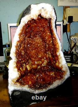 Beautiful 18 In Brazilian Citrine Crystal Cathedral Cluster Geode Brazil