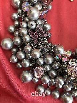 Betsey Johnson HUGE Butterfly Blitz Purple Black Pearl Cluster AB Necklace $195