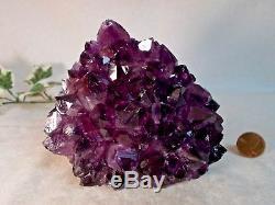 Big Amethyst Geode Crystal Cluster Polished Quartz Backside Cathedral Uruguay