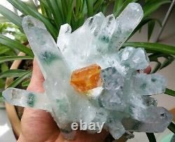 Big Green Yellow Phantom Quartz Crystal Cluster Rare Clear Point Specimen 2.7LB