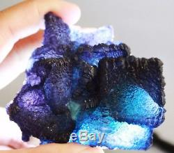 Blue Fluorite Cryst Cluster Quartz Museum Quality Fine Mineral Matrix Specimen