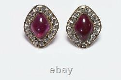 CHANEL 1970s Maison Gripoix Red Poured Glass Crystal Earrings