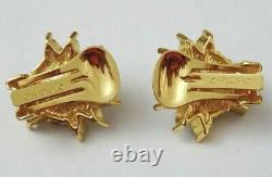 CHRISTIAN DIOR Earrings, Crystal Faux Pearl Gold Tone Clip-ons, SIGNED, Vintage