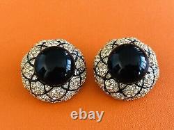 CINER Large Black Enamel Crystal Earrings