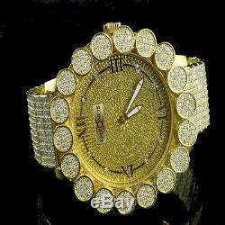 Canary Gold Men's Khronos Real Diamond Joe Rodeo Yellow Tone Cluster Bezel Watch