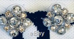 Chanel Crystal Cluster Baroque Square Silver Classic Mini Cc Logo Stud Earrings