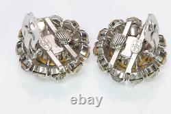 Christian DIOR 1965 Henkel & Grosse Silver Tone Green Crystal Earrings