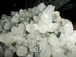 Crystal Cluster & Pyrite Crystal on Black Stone Large Beautiful Gallery Unique