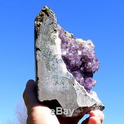 Dark Amethyst Quartz Crystal Large Cluster Cave Natural Geode Uruguay 1114g 13cm