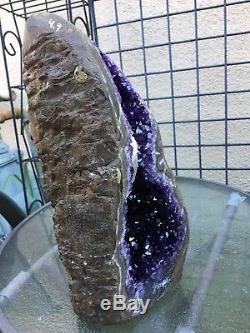 Deep Purple Uruguayan Amethyst Geode Cluster Quartz Crystal Agate Calcite