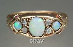 Delightful Antique Edwardian 9K Gold Opal Crystal Butterfly Ring 1908 Size 6