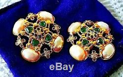 ELIZABETH TAYLOR AVON 1994 Forever Violet Haute Couture EarringsMEGA RARE