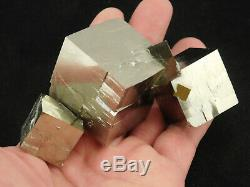 FIVE! 100% Natural Entwined PYRITE Crystal Cubes! In a Big Cluster Spain 319gr