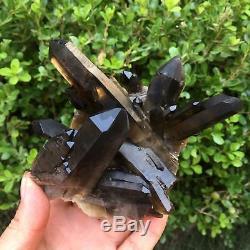 GIANT 653g NATURAL BLACK VUG QUARTZ CRYSTAL CLUSTER HEALING Point 100x75x73mm