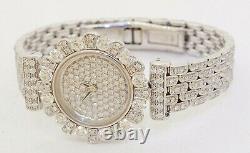 Garavelli Heavy 18k White Gold 6.72ct VS1/F Diamond Floral Cluster Quartz Watch